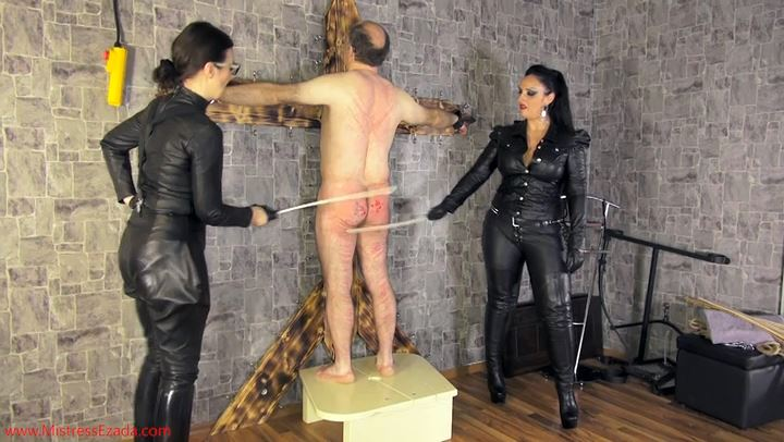 Mistress Ezada Sinn In Scene: Brutal Caning By Leather Clad Sadists - MISTRESSEZADA - SD/406p/MP4