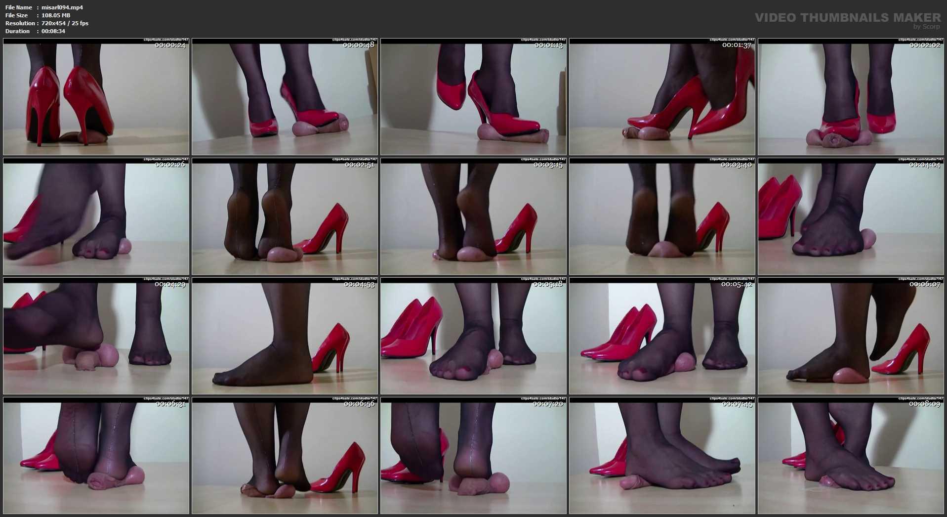 Mistress Arletta In Scene: UNDER RED STILETTOS - A BALLS AND COCK TRAMPLE - SD/454p/MP4