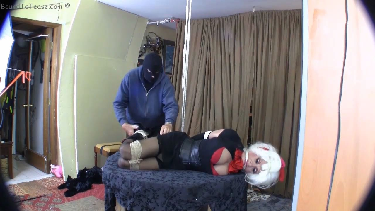 This cute little thing winds up hog tied with big ass sticking out - BOUNDTOTEASE - HD/720p/MP4
