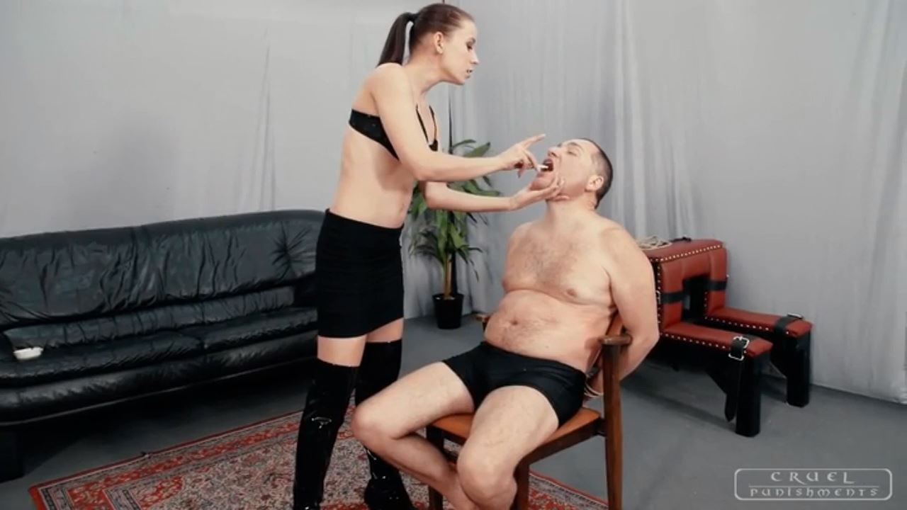 Lady Anette In Scene: Punished with smoke and slaps - CRUEL PUNISHMENTS - SEVERE FEMDOM - HD/720p/MP4