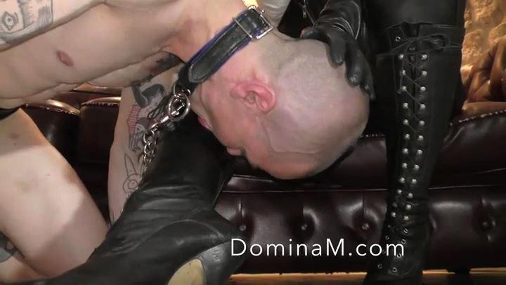 Domina M In Scene: French Boot Slave - DOMINA M`s SLAVE TRAINING - SD/406p/MP4