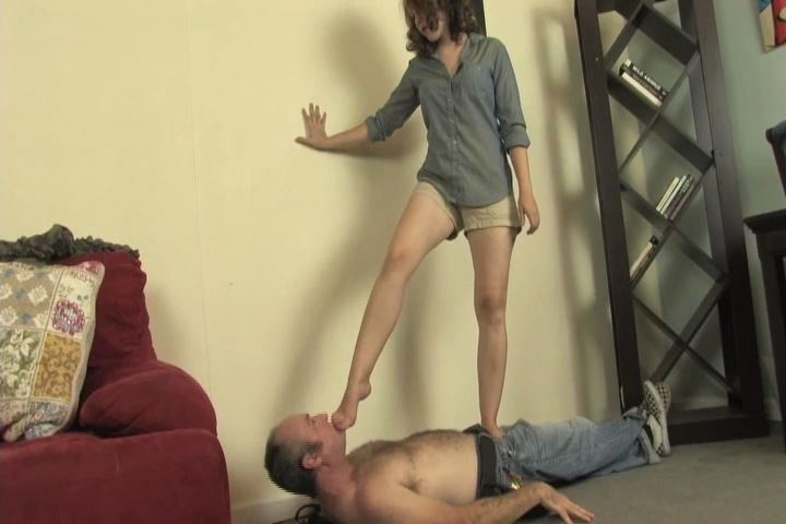 Beautiful young Kat is trampling a lucky slave - HEADUNDERHEELS - SD/480p/MP4