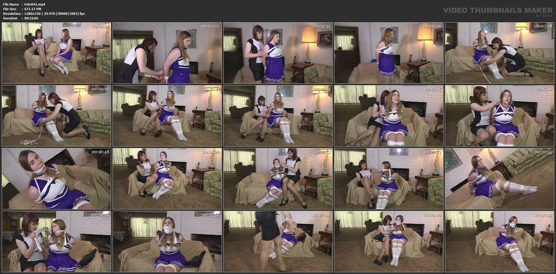 Alex Reynolds dresses as a cheerleader - TRANNIESINTROUBLE - HD/720p/MP4