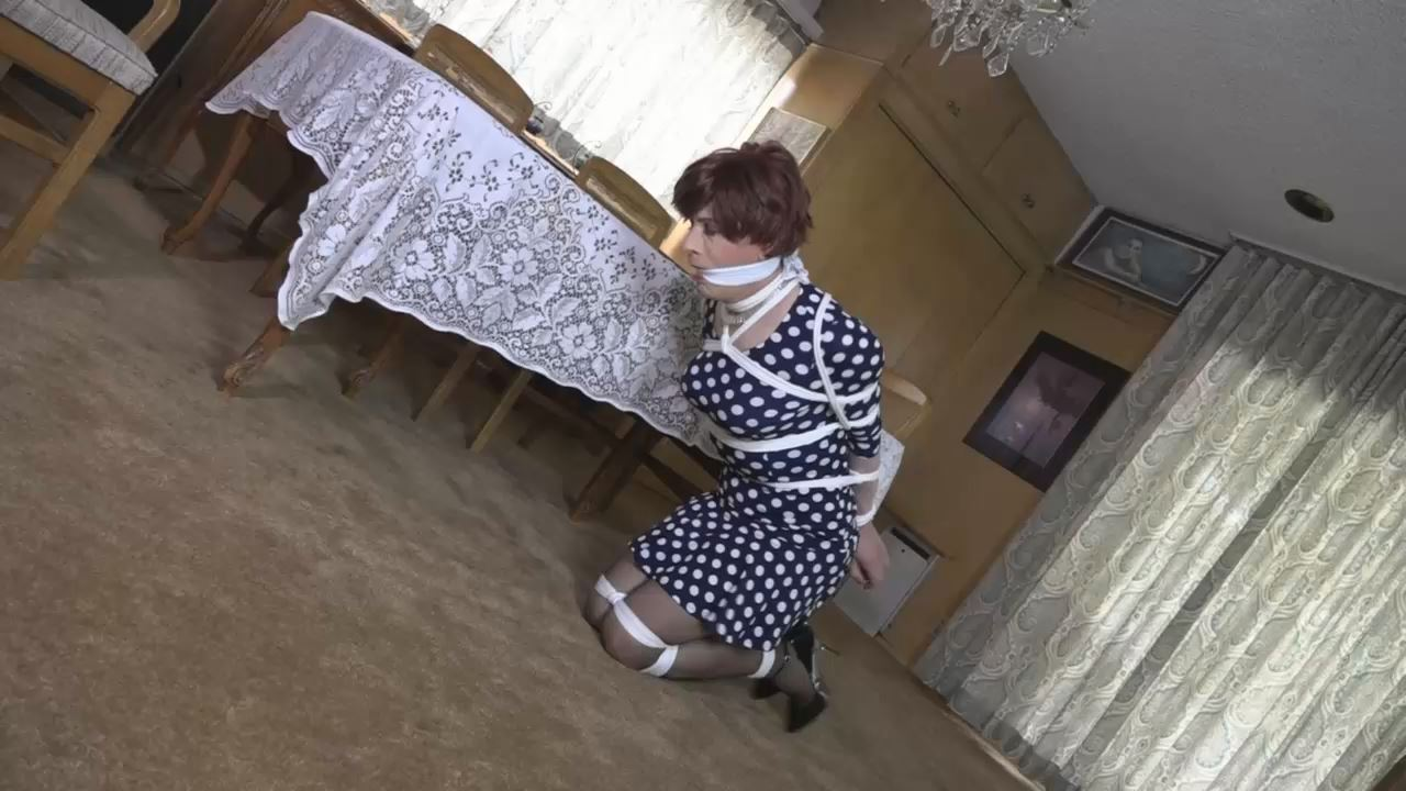 Sandra in her polka dot dress and stockings, visited by Delilah - TRANNIESINTROUBLE - HD/720p/MP4