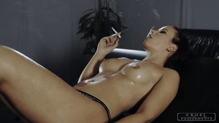 Mistress Anette In Scene: Smoking, covered in oil - CRUEL PUNISHMENTS - SEVERE FEMDOM - SD/406p/MP4