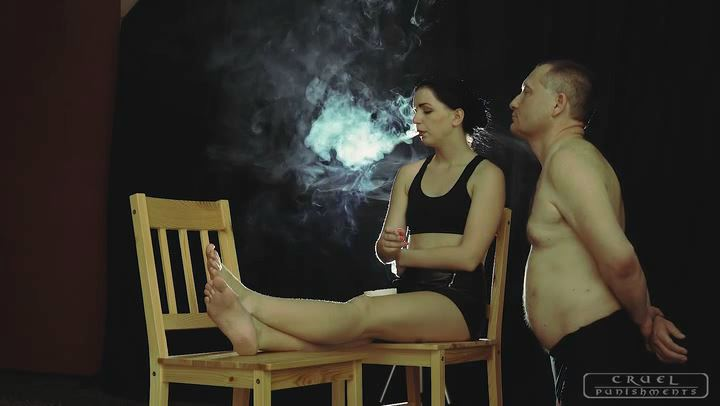Mistress Kittina In Scene: Mouth open for cigarette ash - CRUEL PUNISHMENTS - SEVERE FEMDOM - SD/406p/MP4