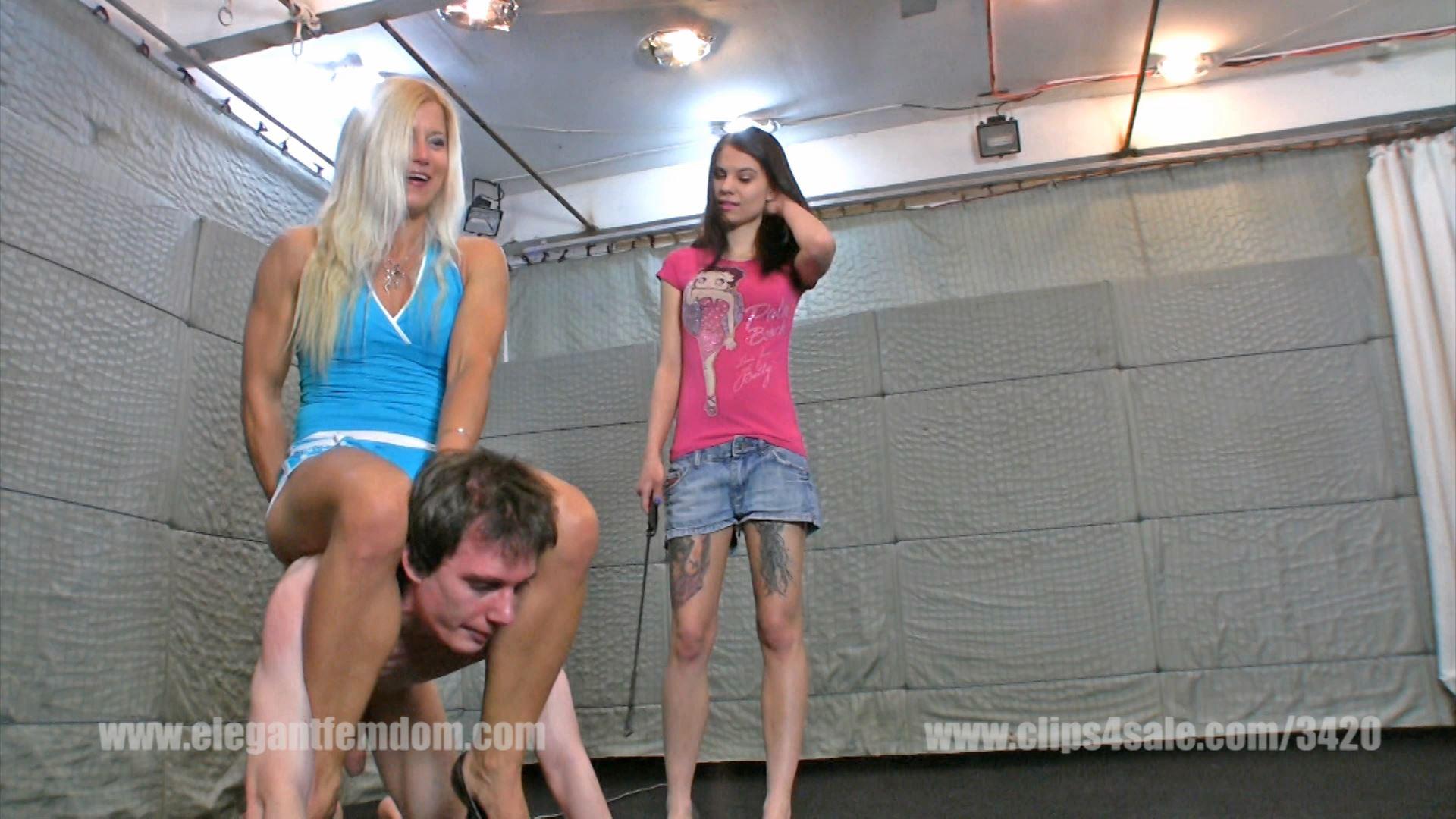 Two mistresses train the skinny weak male pony slave - ELEGANTFEMDOM - FULL HD/1080p/MP4