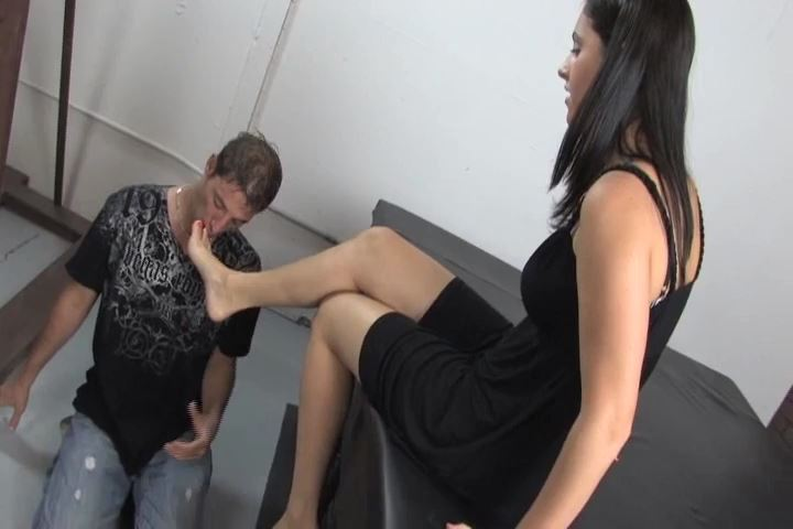 Miss Amelia forces slave to lick her feet and foot-slaps him - KISSHERFOOT - SD/480p/MP4