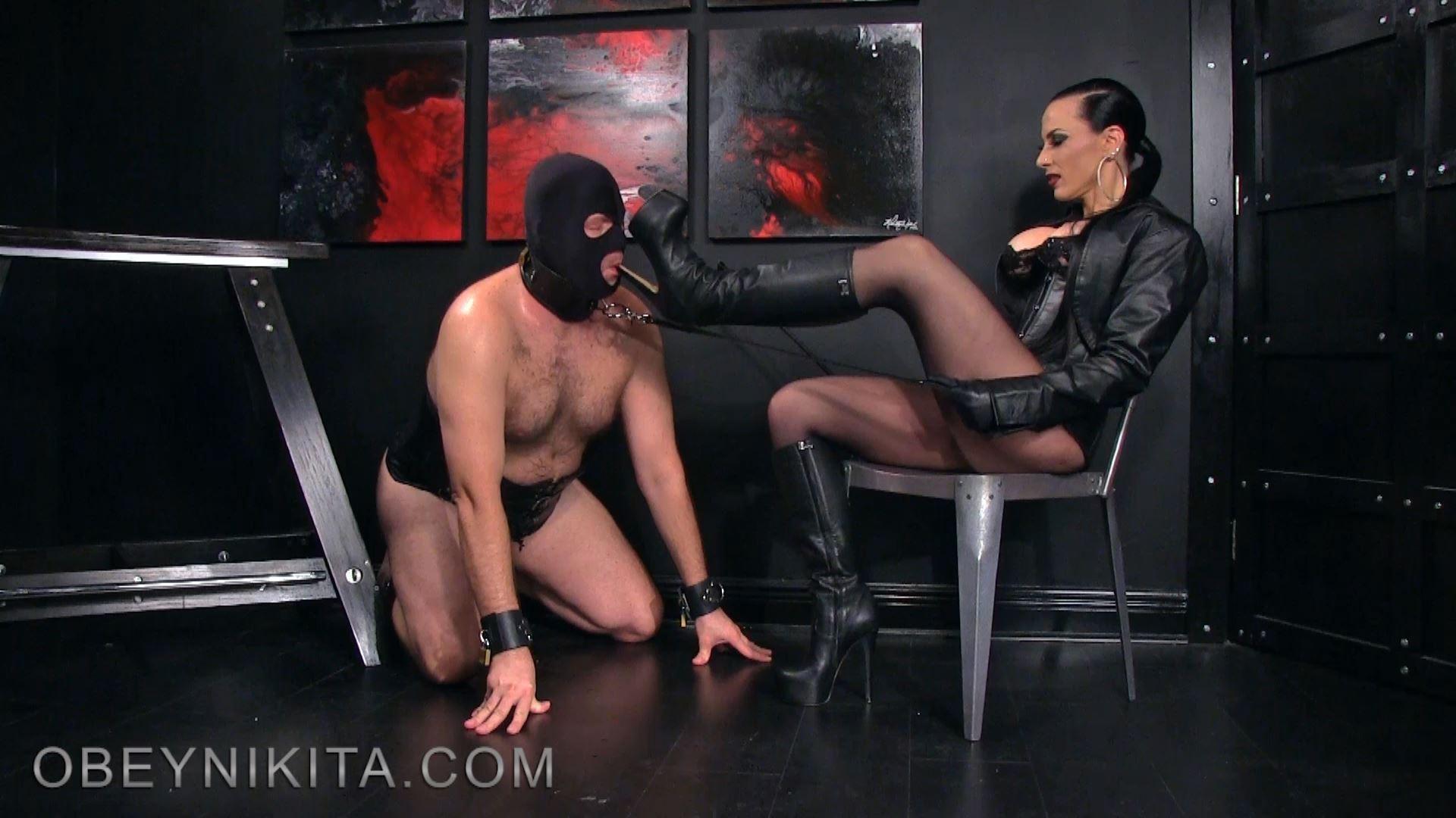 Mistress Nikita In Scene: Lick My Leather Covered Platform Knee Boots - OBEYNIKITA - FULL HD/1080p/MP4