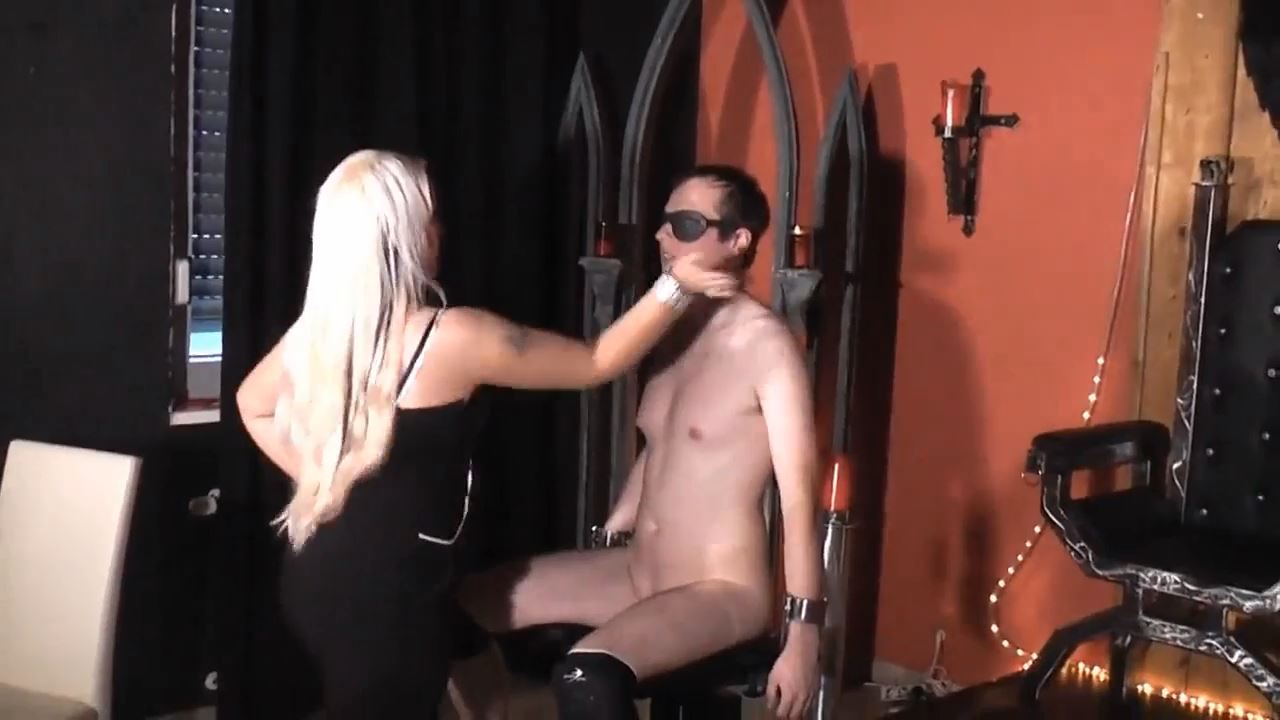 Blonde Domina In Scene: Face Slapping on the torture chair - DEUTSCHE DOMINAS / GERMANY FEMDOM - HD/720p/MP4