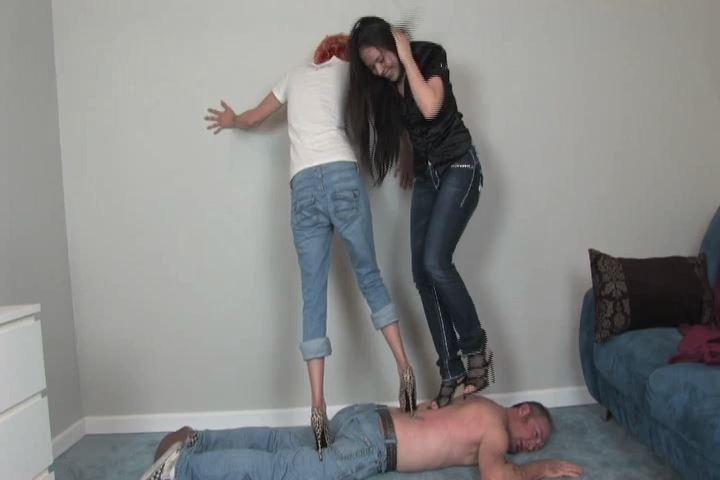 Ladies Floor is trampled by two ladies, both wearing sharp high heels - HEADUNDERHEELS - SD/480p/MP4