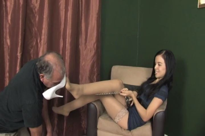 Miss Tiffany In Scene: Lucky old man is worshiping the bottom of My dirty white heels - MISS-TIFFANY - SD/480p/MP4