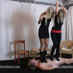 Mistress Demona and Lady Ninette have fun on the carpet slave – ELEGANTFEMDOM – FULL HD/1080p/MP4