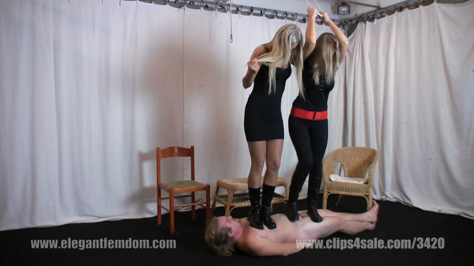 Mistress Demona and Lady Ninette have fun on the carpet slave - ELEGANTFEMDOM - FULL HD/1080p/MP4