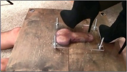 Strict Domme CBT with weights, cock slapping and femdom handjob - BRUTAL CBT - LQ/240p/MP4