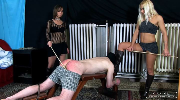 Lady Zita, Lady Nina In Scene: Double caning and a little game Part 2 - CRUEL PUNISHMENTS - SEVERE FEMDOM - LQ/SD/400p/MP4