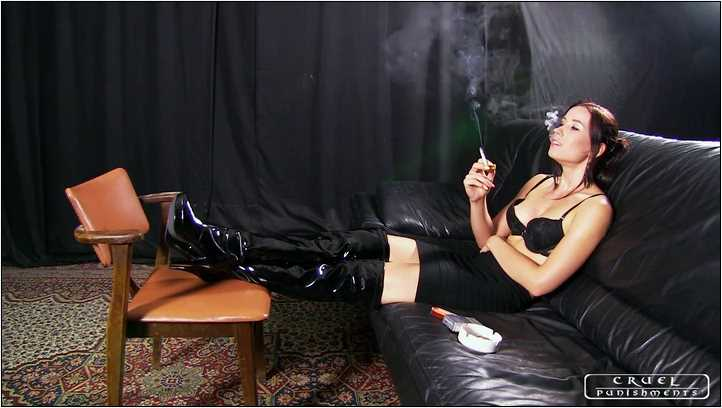 Lady Anette`s Smoking clip - CRUEL PUNISHMENTS - SEVERE FEMDOM - SD/406p/MP4