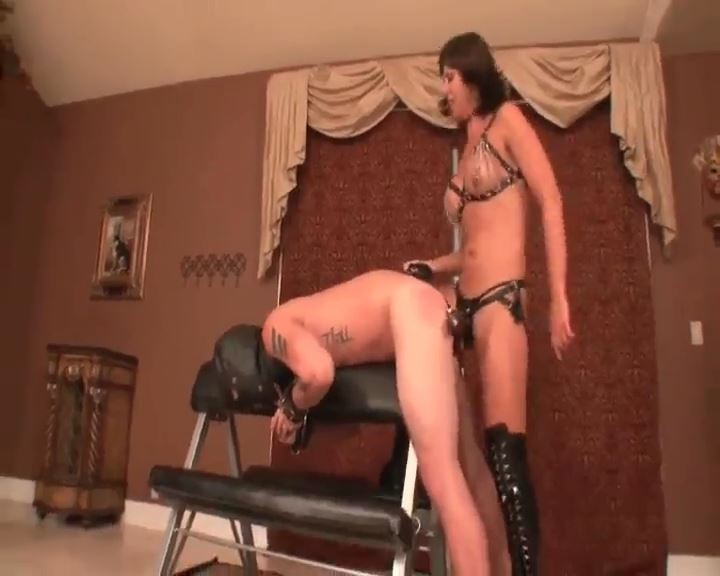 Strapon and CBT combination with Mistress fucking slave - BRUTAL CBT - SD/576p/MP4