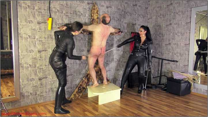 Brutal caning by 4 leather clad sadists - MISTRESS EZADA SINN - SD/406p/MP4