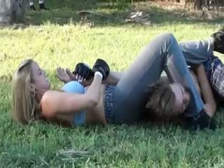 Blonde Amazon wearing boxing gloves outdoors boxing a male - WRESTLING FETISH - LQ/240p/MP4