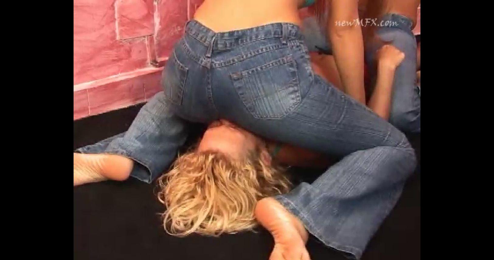 Ayumi, Jade, Josie In Scene: Cruel Jeans - FACESITTING IN BRAZIL / NEW MFX - SD/480p/MP4
