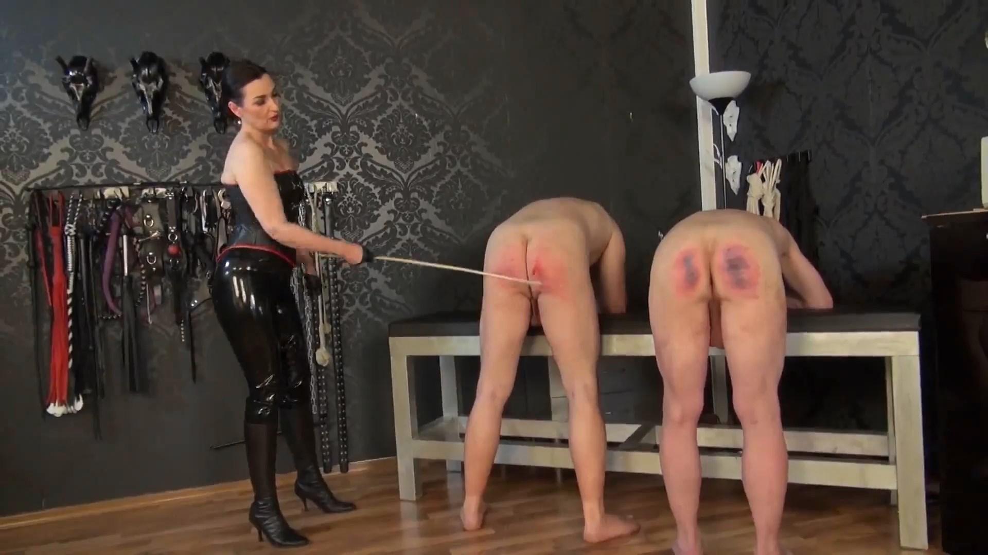Cane Treatment Of 2 Slaves - LADY VICTORIA VALENTE - FULL HD/1080p/MP4