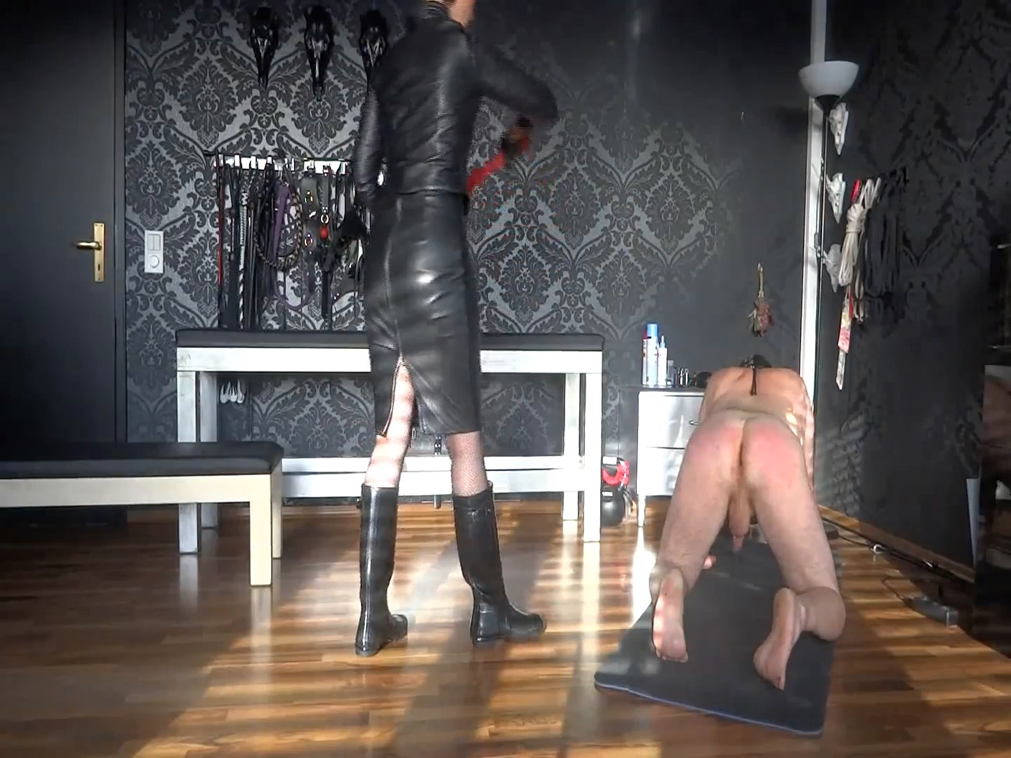 Whipping My Slave! In Wellingtons Rubber Boots - LADY VICTORIA VALENTE - FULL HD/1080p/MP4