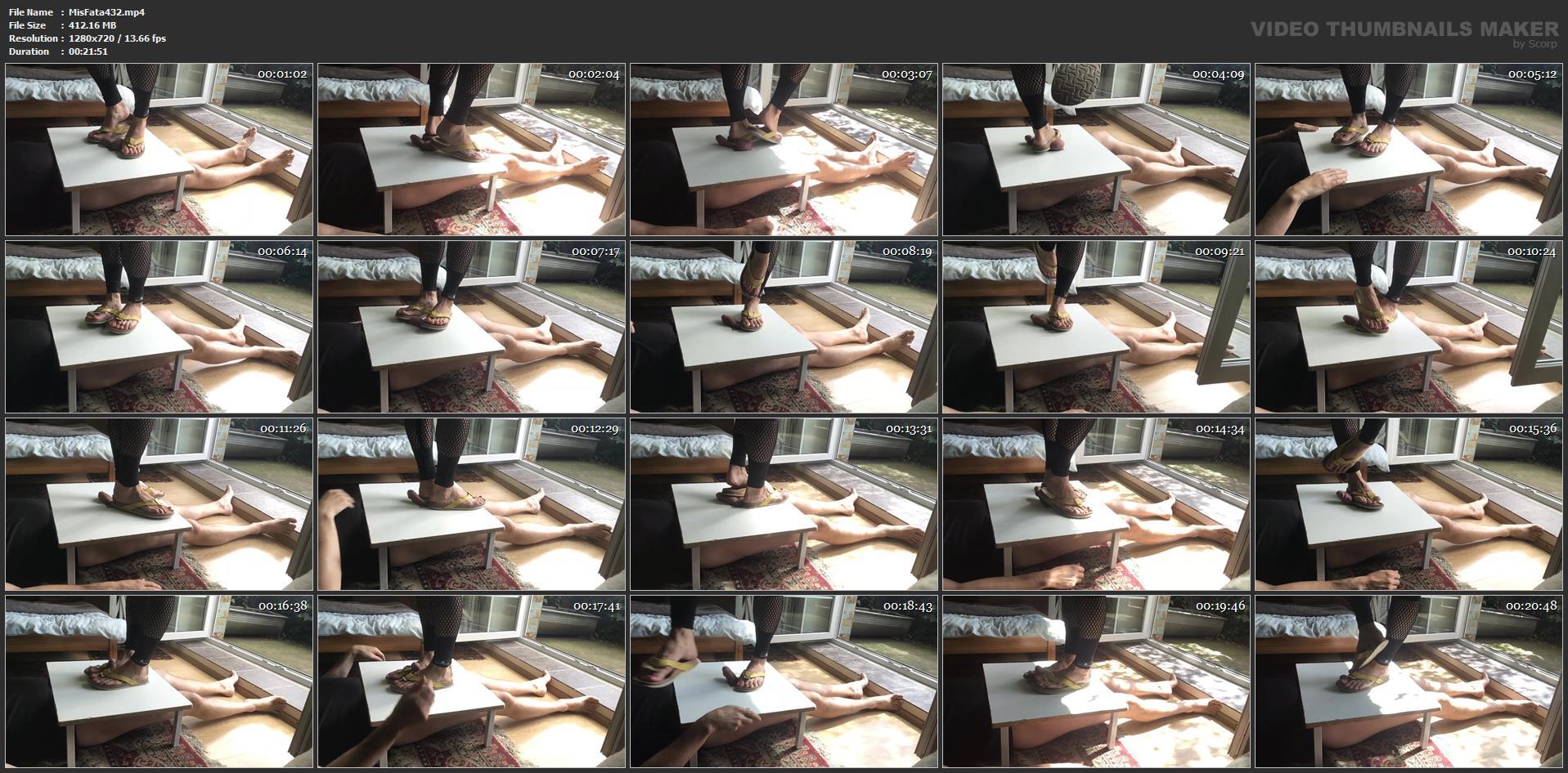 Flip Flops Crush Cock And Balls On Cockboard - MISTRESS FATALIA - HD/720p/MP4